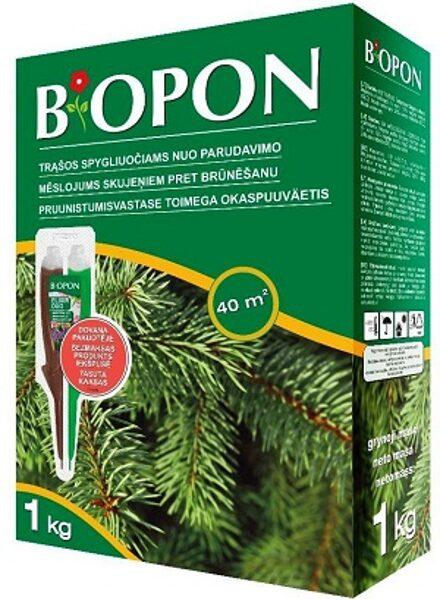 Granulēts mēslojums skujeņiem pret brūnēšanu 1 kg Biopon